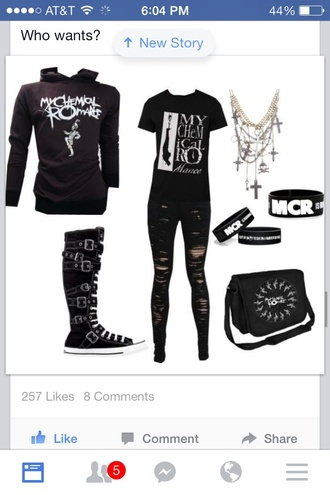 jeans shoes jacket my chemical romance dark mcr holes bracelets holey jeans black jeans band t-shirt band hoo hoodie metal emo ripped jeans black hipster cross necklace accessories emo core converse high tops converse