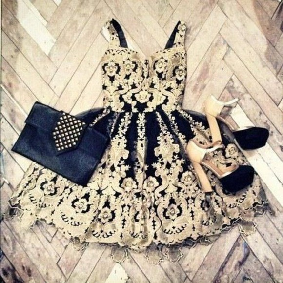 embroidered short dress short black and gold