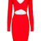 Long sleeve cross over cut out bandage dress red