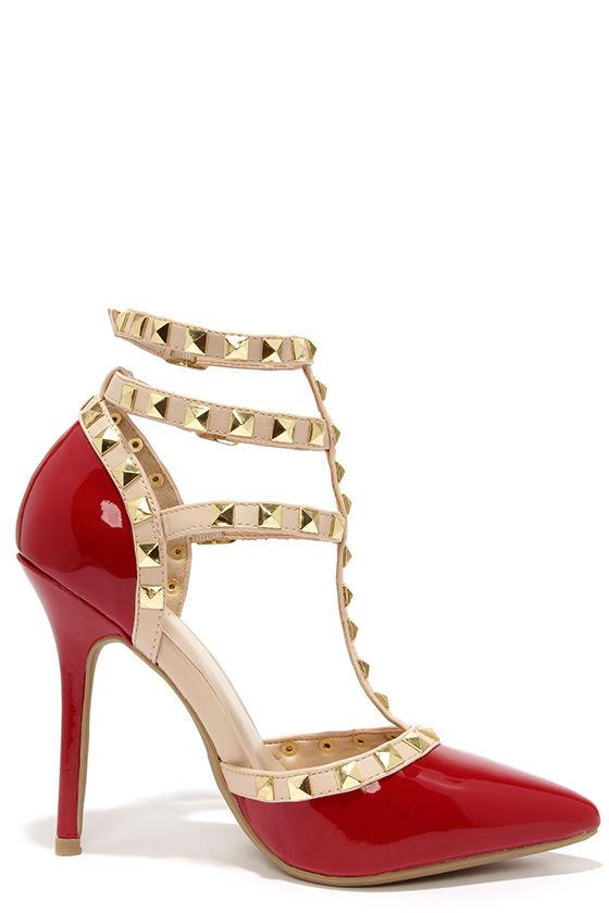 d28756ab03 Wild Diva Lounge Adora 55 Dark Red Studded T-Strap Pointed Heels