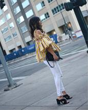 top,off the,yellow top,striped top,white jeans,tumblr,off the shoulder,off the shoulder top,yellow,stripes,denim,jeans,shoes,black shoes,bag
