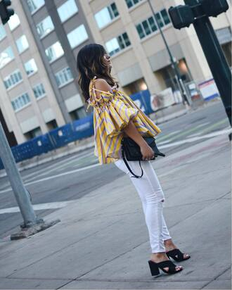 top off the yellow top striped top white jeans tumblr off the shoulder off the shoulder top yellow stripes denim jeans shoes black shoes bag