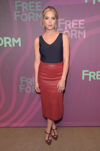 shoes pumps ashley benson midi skirt leather skirt top