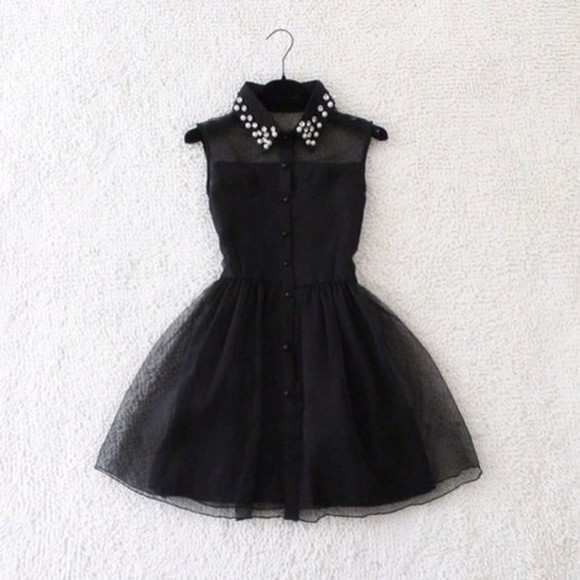dress see-through neckline little black dress black studs fancy flare mesh see through sleeveless sleeveless dress collar studded collar buttons