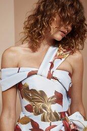 dress,floral dress,floral,pattern,patterned dress,bnkr,cmeocollective,formal,one shoulder,off the shoulder dress,off the shoulder,asymmetrical,mini asymmetrical dress