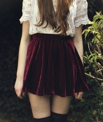 skirt red velvet blouse burgundy skirt white lace top fall outfits fall skirt hipster vampira grunge fancy top shirt velvet skirt socks burgundy old school red velvet skater skirt black thigh highs white white lace thigh highs indie girly