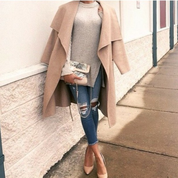 coat shoes jeans sweater