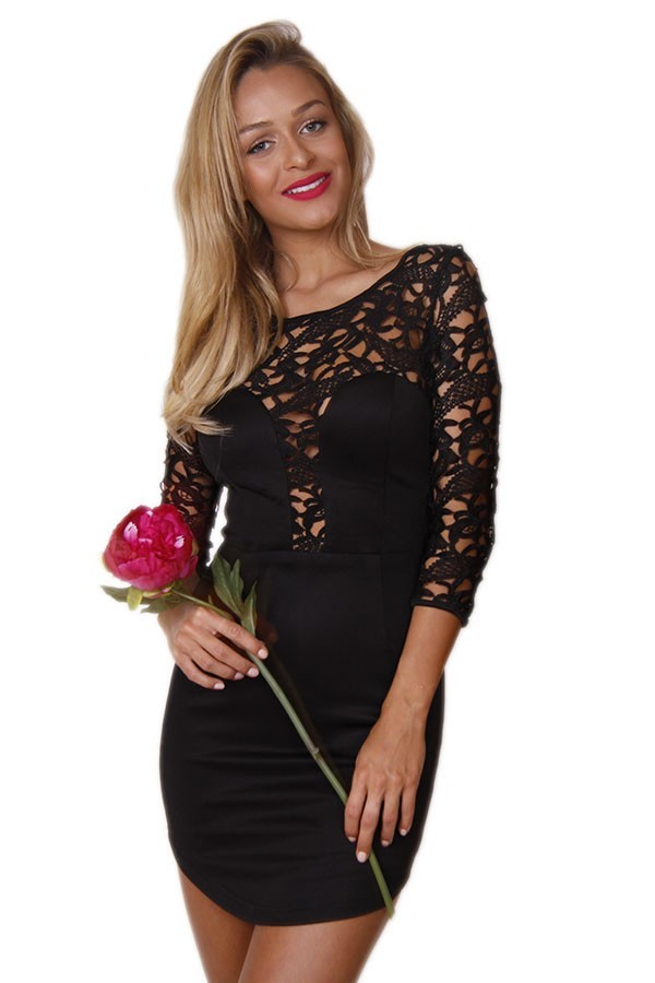 Black Lace Top Long Sleeve Mini Dress