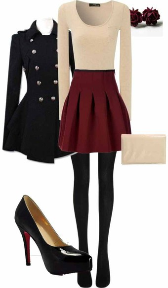 earing outfit idea jacket winter outfits high heels purse handbag wine colored skirt rosebud earrings military coat patent shoes black tights burgundy skirt cream sweater