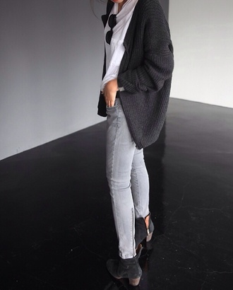 jeans grey hipster cool indie skinny cardigan knitwear booties ankle boots isabel marant grey jeans t-shirt