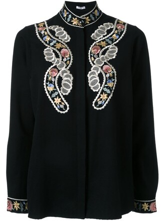 shirt embroidered black top