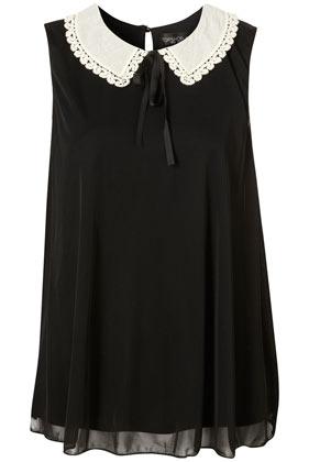 Tall black crochet peter pan collar swing top