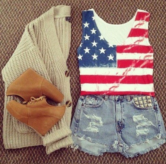 t-shirt blouse american flag top shoes