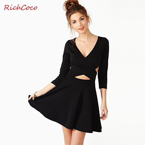 2014Hollow chest wrapped chest deep v-neck three-quarter sleeve solid cross halter A-line dress lycra dress free shipping DQW86 | Amazing Shoes UK