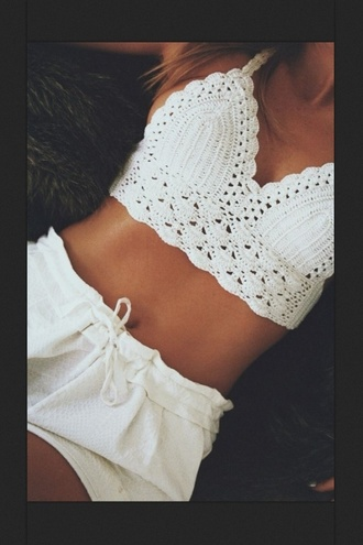 tank top white lace croptop cute tank short shorts top lace top t-shirt knitted shirt
