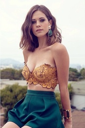 shirt,gold,bustier,top,crop,pants,shorts teal,jewerly,crop top mustard,Lyndsy Fonseca,crop tops,yellow,black,whimsical,green shorts,strapless,high waisted,white girl
