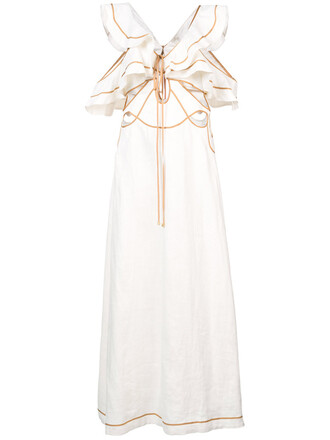 dress women white silk