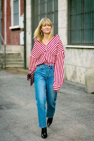 jeans blue jeans mum jeans shirt stripes striped shirt red shirt boots black boots spring outfits