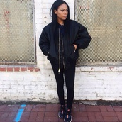 black,black jacket,topshop,urban outfitters,bomber jacket,all black everything,urban,coat,pants,shoes,jacket