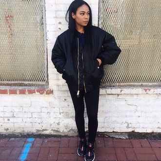 black black jacket topshop urban outfitters bomber jacket all black everything urban red lime sunday coat pants shoes