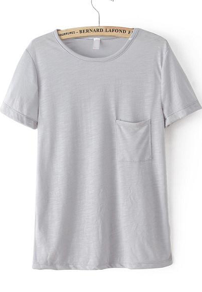 Grey Short Sleeve Pocket Loose T-Shirt - Sheinside.com