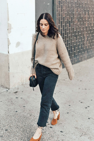 sweater knit knitwear grey sweater knitted sweater denim jeans black jeans shoes mules bag shoulder bag