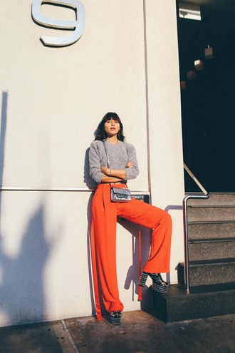 natalie off duty blogger top pants bag shoes jewels grey sweater orange pants platform shoes fall outfits