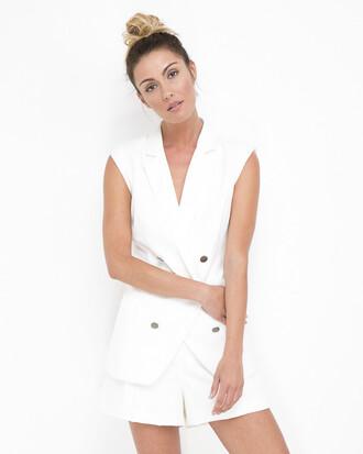 jacket blazer white white outfit white blazer white shorts outfit outfit set