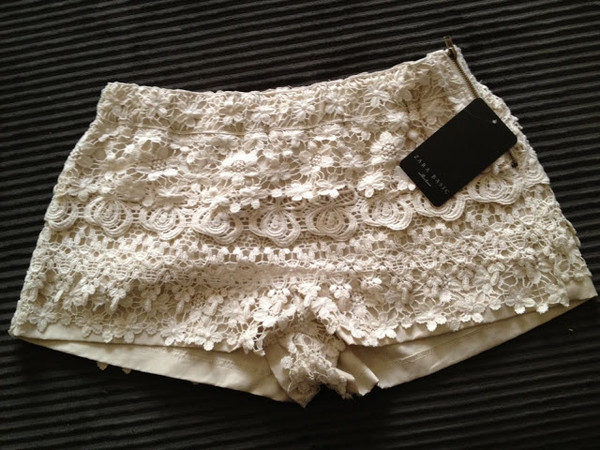 shorts cream shorts crochet women bag