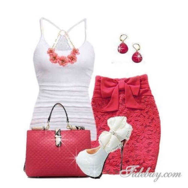 skirt pink lace floral tank top shoes jewels red skirt bag shirt