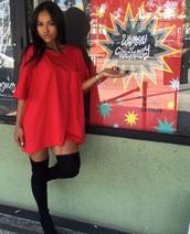 t-shirt,karrueche,dress,oversized,oversized t-shirt,red,knee high socks,t-shirt dress