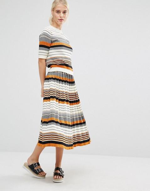skirt clothes striped skirt midi skirt pleated skirt