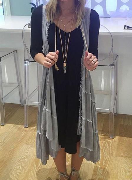 dress gray sleeveless vest jacket vest cardigan sleeveless black dress midi dress long sleeve dress
