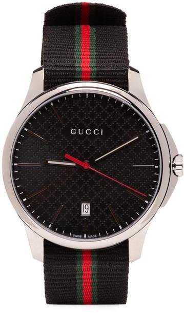 gucci watch silver black jewels