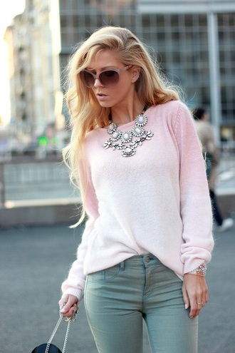 sweater pink sweater cashmere blonde hair pants jewels dress