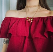 top,blouse,ruffle,red,shirt