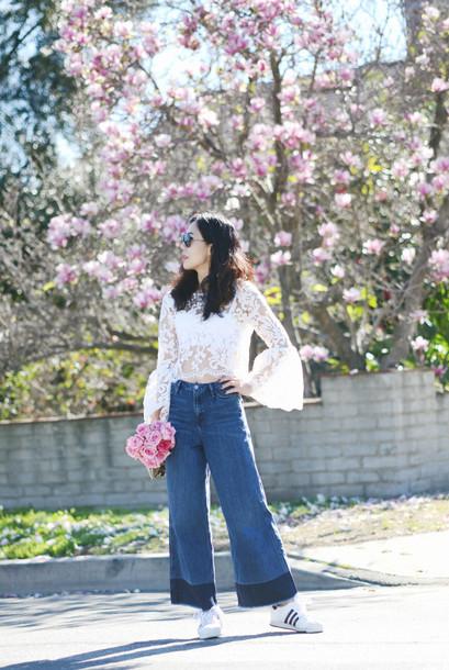 hallie daily blogger jeans lace top wide-leg pants