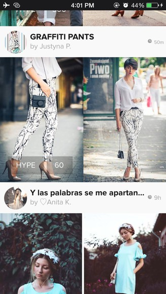 print white jeans pants denim