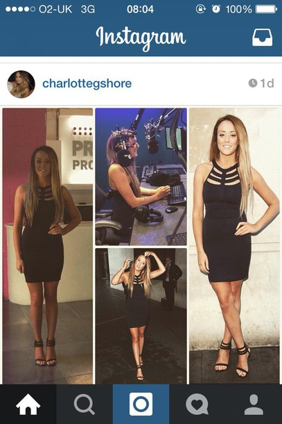 shoes black ankle strap heels on  charlotte  crosby dress