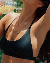 bikini top,black bikini top,swimwear