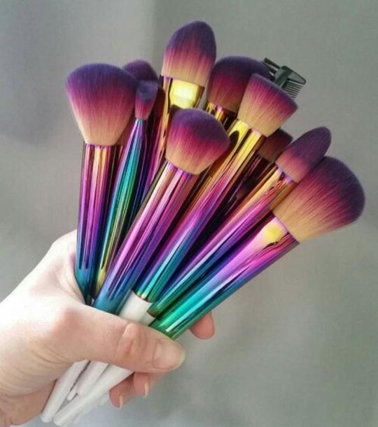 make-up makeup brushes iridescent rainbow