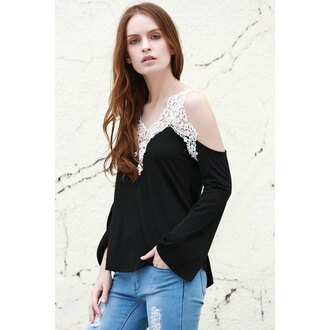 top black rose wholesale streetwear crochet off the shoulder