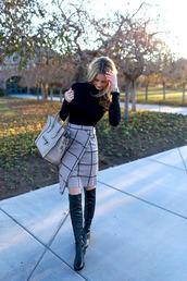 skirt,pencil skirt,turtleneck,clothes,monochrome,black and white,boots,leather,wrap skirt,grid,checkered skirt,beige,asymmetrical skirt,top