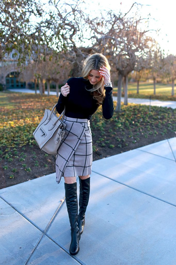 skirt pencil skirt turtleneck clothes monochrome black and white boots leather wrap skirt grid checkered skirt beige asymmetrical skirt top