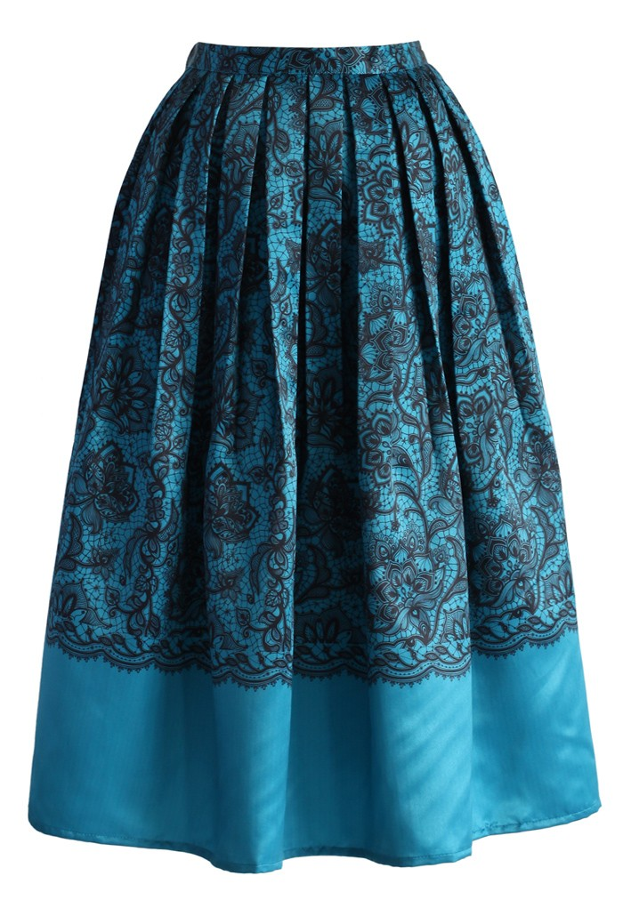 Lace Fantasy Pleated Midi Skirt in Blue - Retro, Indie and Unique Fashion