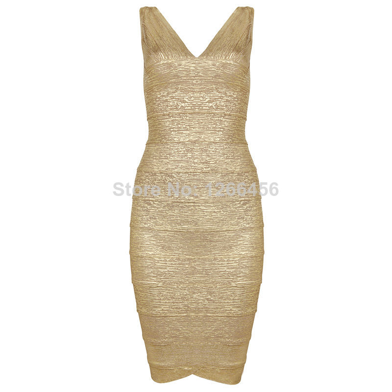 Aliexpress.com : Buy High Quality Noble Rayon Gold Deep V Neck Printed Sexy Triangle Bottom Bandage Dress Celebrity Dresses Evening Dress H150 from Reliable dress tattoo suppliers on Lady Go Fashion Shop