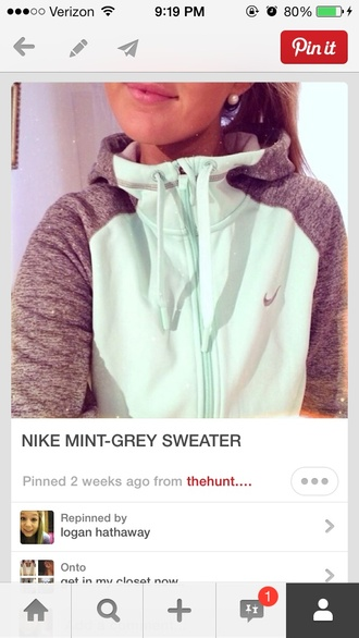 coat mint nike jacket free run trainers running sportswear athletic hoodie mint green sweatshirt sweater light blue