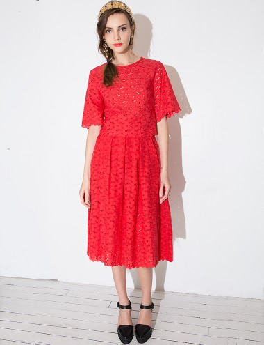 Lace Midi Skirt - Floral Crochet Skirt -