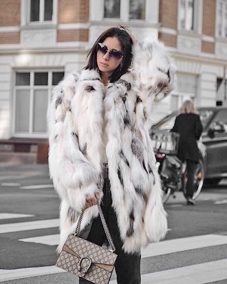 coat tumblr fur coat faux fur coat white coat oversized oversized coat sunglasses