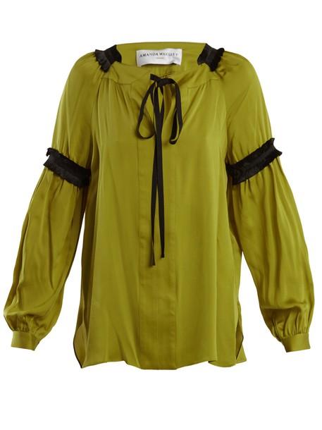 blouse silk satin green top